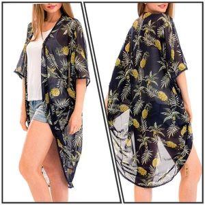 Other - Sheer Navy Pineapple Crochet Hem Kimono Cover Up